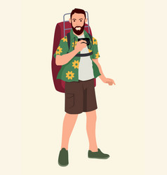 Tourist with backpack vector