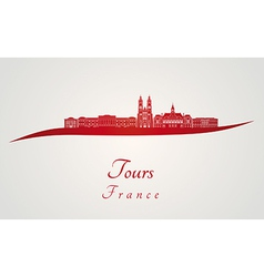 Tours skyline in red vector