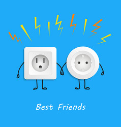 two different electrical outlets best friends vector image