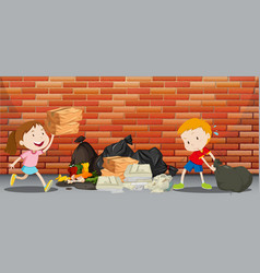 two kids throwing trash on the street vector image