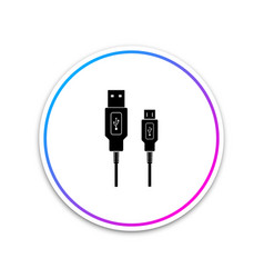 usb micro cables icon on white background vector image