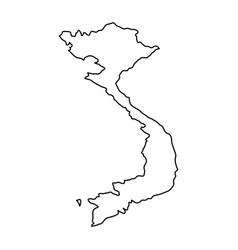 vietnam map of black contour curves on white vector image