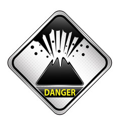 Volcano danger sign vector