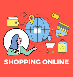 Woman avatar and shopping online poster vector