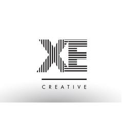 Xe x e black and white lines letter logo design vector