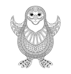 Zentangle stylized Penguin the cheerful penguin vector image