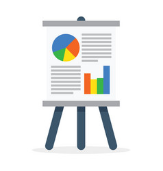 Flipchart whiteboard screen with marketing data vector