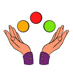 hands juggling balls icon cartoon vector image
