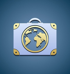 Icon suitcase with a map vector image