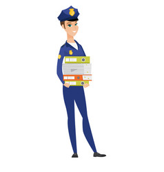 police woman holding pile of folders vector image vector image
