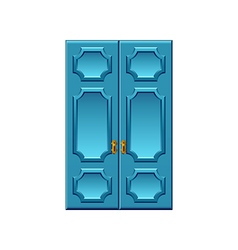 Vintage blue doors isolated on white vector image vector image