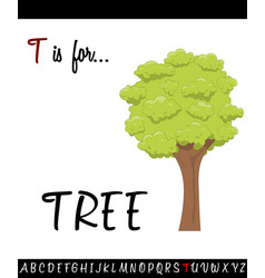 cartoon of capital letter t with tree vector image vector image
