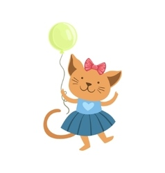 Cat cute animal character attending birthday party vector