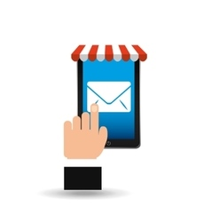 e-commerce concept hand holding smartphone email vector image