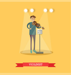flat of violinist performing vector image