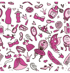 seamless background of girl s accessories vector image