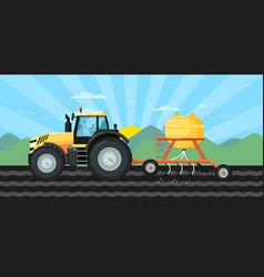 tractor seeding crops at field in spring landscape vector image vector image