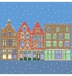 Urban winter christmas landscape vector