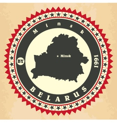 Vintage label-sticker cards of belarus vector