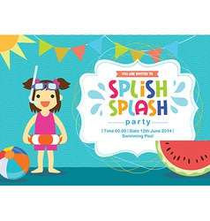 Birthday card invitation summer fun splash vector image vector image