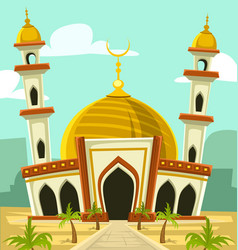 cartoon mosque building middle east vector image