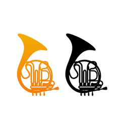golden french horn vector image vector image