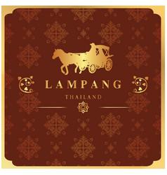 Lampang thailand carriage thai design red backgrou vector