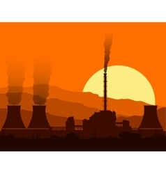 Silhouette of a nuclear power plant at sunset vector image vector image