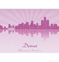 Detroit skyline in purple radiant orchid vector image vector image