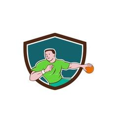 Handball player throwing ball crest cartoon vector
