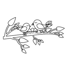 monochrome silhouette of birds and nest in tree vector image vector image