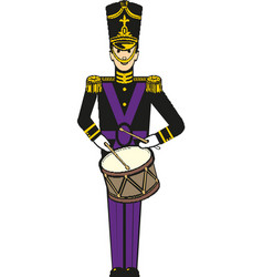 A nutcracker toy soldier with a vector