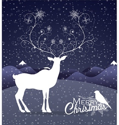 Abstract Reindeer at night Christmas background vector image