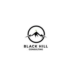 Abstract three mountain with flag logo design vector