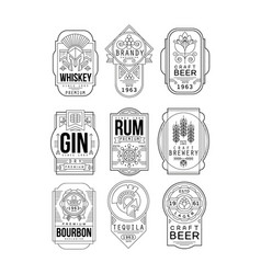 Alcohol labels set retro alcohol industry vector