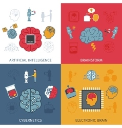 Artificial Intelligence Flat Set vector image