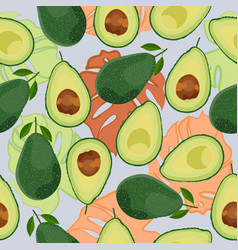 avocado seamless pattern whole and sliced vector image