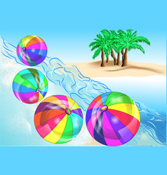 beach balls on coast vector image