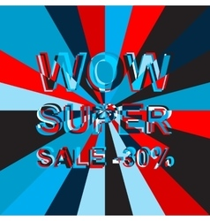 Big ice sale poster with WOW SUPER SALE MINUS 30 vector image