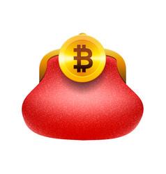 Bitcoin wallet concept icon golden bitcoin coin vector
