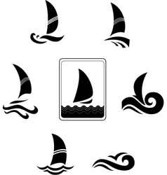 Black icons with image yachts on a white vector