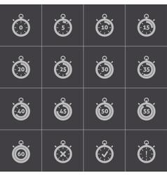 black stopwatch icons set vector image