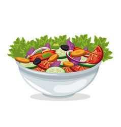 bowl salad vegetables harvest vector image
