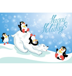 Card with funny penguins and polar bear on blue sn vector image
