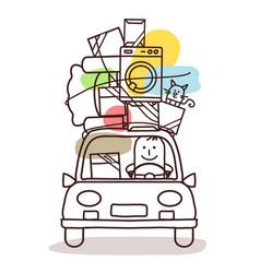 Cartoon characters and car - move vector
