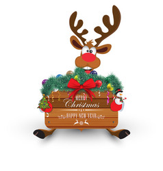 Cartoon christmas santas reindeer peeking round vector