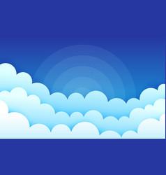Cartoon clouds on blue sky cumulus fluffy clouds vector