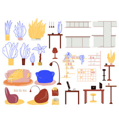cartoon interior set with furniture home vector image