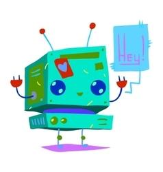 Cartoon tiny baby robot flat icon vector image