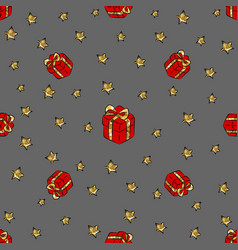 christmas gift box red wrapping paper seamless vector image